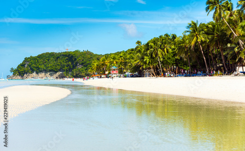 Poster Turquoise BORACAY, PHILIPPINES - FEBRUARY 28, 2018: View of the sandy beach. Copy space for text.