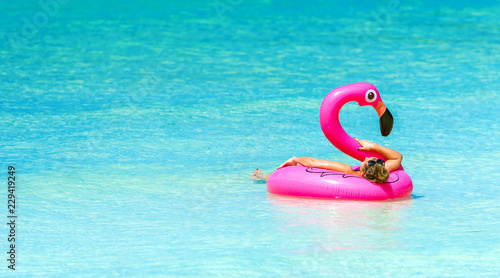 Inflatable circle in the shape of a pink flamingo, Boracay, Philippines. Copy space for text.