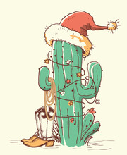 Cactus Christmas In Red Santa Hat And Cowboy Shoes .Vector Color Hand Drawn Illustration