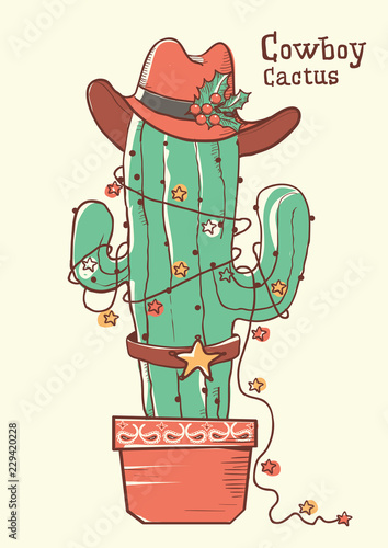 Foto op Canvas Piraten Cactus christmas with cowboy hat .Vector hand drawn illustration