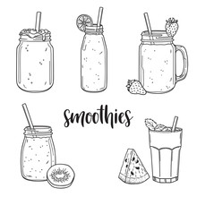Set Of Hand Drawn Smoothies In Jars, Bottles And Glasses With Fruit Ingredients
