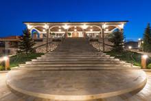 Night Lightening Of Luxury Mansion Exterior