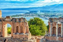 Griechisches Theater Von Taormina - Bucht Von Giardini-Naxos - Sizilien
