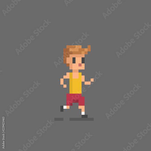Fotografie, Obraz  Pixel art running man.