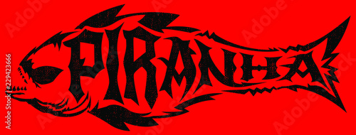 Piranha vector lettering with the shape of a fish, extreme style emblem Canvas-taulu