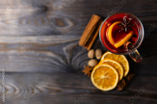 Fotografie, Obraz  Mulled wine with assortment of spices