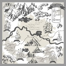 Fantasy Adventure Map Elements With Monochrome Doodle Hand Draw In Vector Illustration