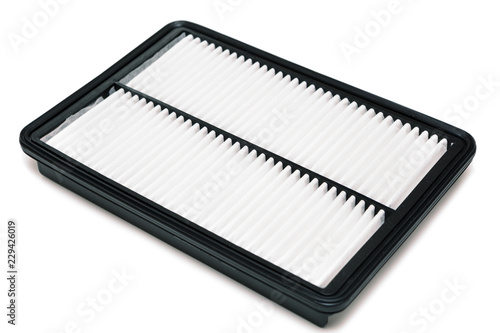 Photo Air filter rectangular shape, upper side, aftermarket parts isolated on a white