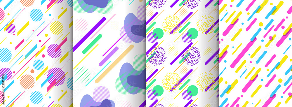 Fototapeta Set of abstract seamless background available in swatches panel