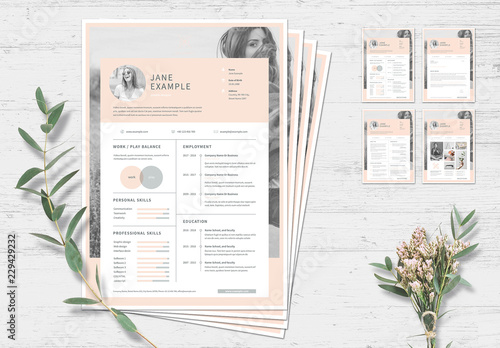 Resume and Cover Letter Layout with Pale Pink Accents ...