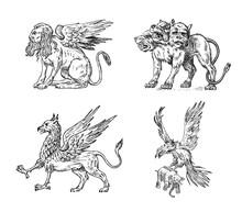 Set Of Mythological Animals. C...