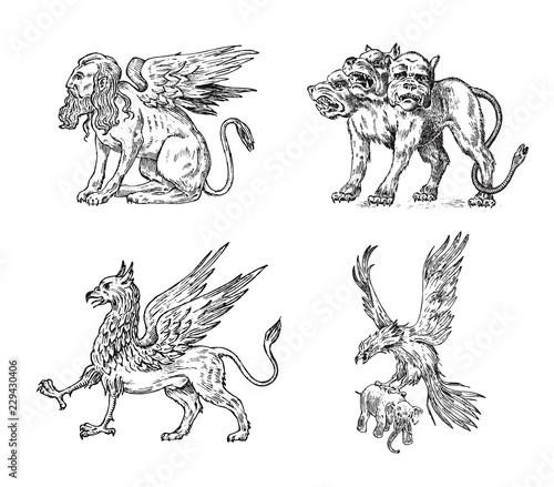 Photographie Set of Mythological animals