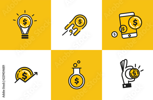 Cuadros en Lienzo Outline web icon set - money, finance, payments