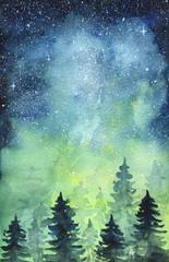 Sztuka kosmiczna Północne światła. Akwarela