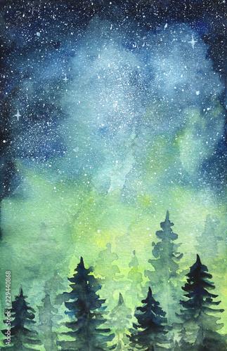 Space art. Nortern lights. Watercolor