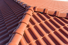 The Roof Of A High-rise Building. Roof Made Of Clay Tiles. Environmentally Friendly Tiles. Roofing Material