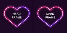 Neon Frame In Heart Shape. Vec...