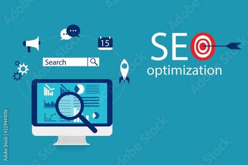 Photo  Flat illustration web analytics design , SEO optimization.