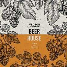 Beer Hop Frame. Engraved Style Illustration. Vintage Beer Design Template. Vector Illustration