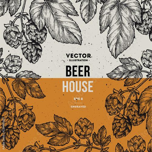 Beer hop frame Wallpaper Mural