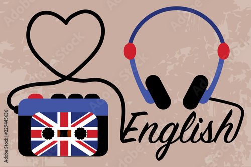Fotografie, Obraz  Player with headphones making heart and word English