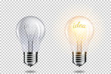 Transparent Realistic Light Bulb With Word Idea, Isolated.