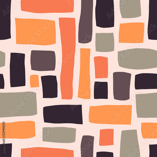 Motiv-Fußmatte - Rectangle shapes hand drawn abstract seamless vector pattern. Purple, orange, gray blocks on light pink background. Fall autumn color background. For fabric, web banner, page fills, paper, wallpaper (von Sandra Hutter)