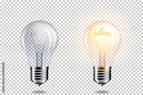 Transparent realistic light bulb with word idea, isolated. Canvas Print