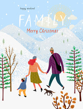 Happy Family In Winter, Vector...