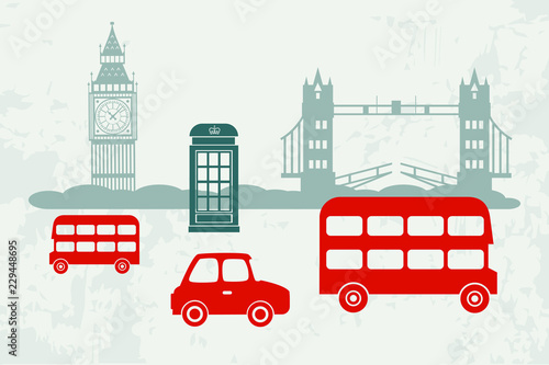 Poster Doodle Vector cars and buses in London
