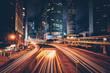 Leinwanddruck Bild - Street traffic in Hong Kong at night