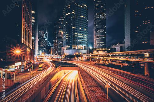Street traffic in Hong Kong at night Fototapeta