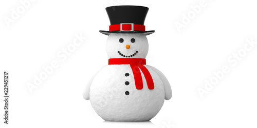 Fototapeta Smiling snowman against white background. 3d illustration.