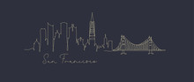 Pen Line Silhouette San Francisco Dark Blue