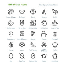Breakfast Icons - Outline Styled Icons, Designed To 48 X 48 Pixel Grid. Editable Stroke.