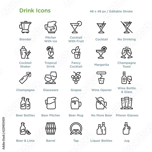 Valokuva Drink Icons - Outline styled icons, designed to 48 x 48 pixel grid