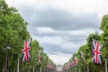 Union Jack Flags Outside Of Buckingham Palace, London, UK