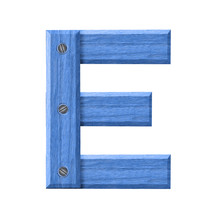 Letter E Symbol In Blue Wood I...