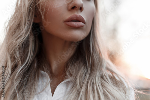 Natural beautiful female lips outdoor Tableau sur Toile