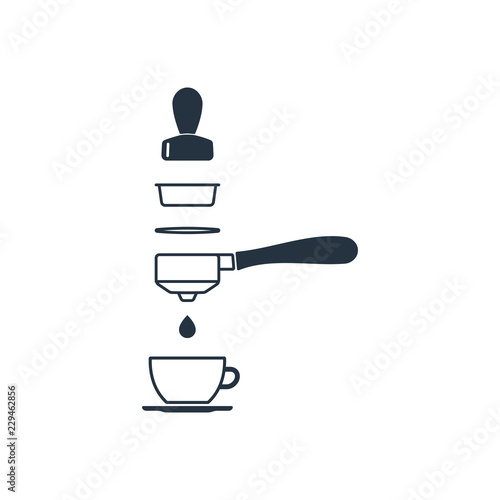 portafilter and tamper isolated icon on white background 400 coffee set logo and sign buy this stock vector and explore similar vectors at adobe stock adobe stock portafilter and tamper isolated icon on