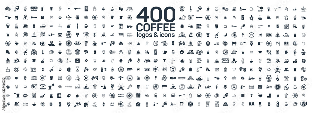 Fototapeta Coffee details and tools 400 isolated icons set on white background. Logo and sign for coffee shop and house