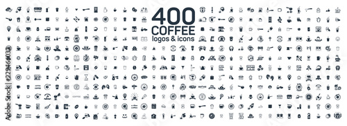 Fototapeta Coffee details and tools 400 isolated icons set on white background. Logo and sign for coffee shop and house obraz
