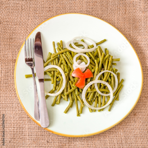 Fényképezés  Cooked long Chinese green beans