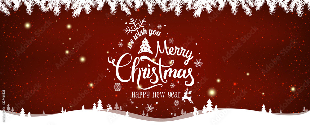 Fototapety, obrazy: Christmas and New Year Typographical on shiny Xmas background with winter landscape with snowflakes, light, stars.
