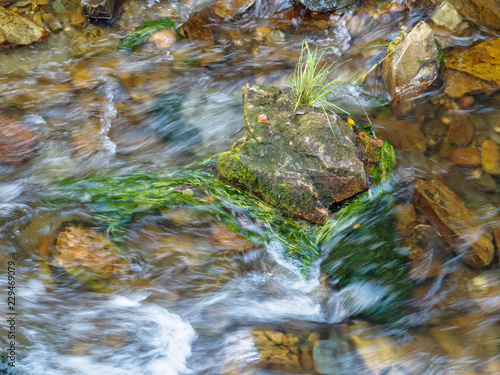 Staande foto Rivier Little island in a fast flowing river - Villafranca del Bierzo, Castile and Leon, Spain