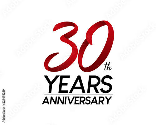 Fotografía 30 anniversary logo vector red ribbon