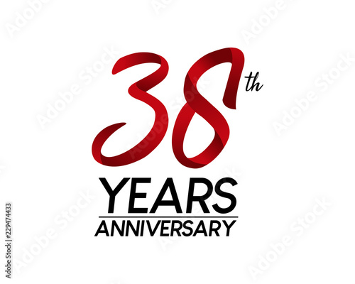 Papel de parede 38 anniversary logo vector red ribbon
