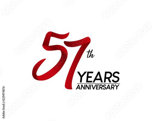 57 anniversary logo vector red ribbon Canvas Print