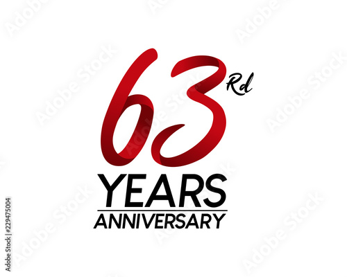 Fotografia  63 anniversary logo vector red ribbon