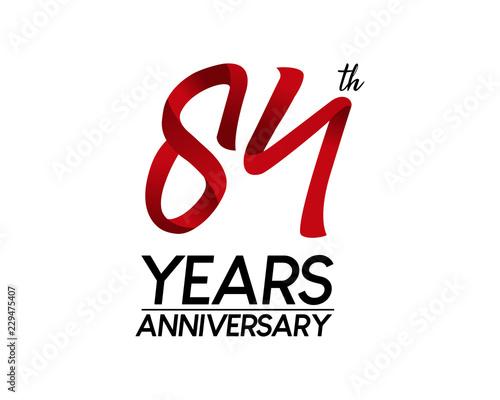 Photo  84 anniversary logo vector red ribbon